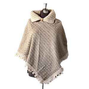 Vintage Wool Cape Crocheted Knit Shawl Houndstooth